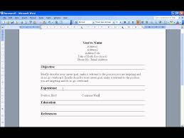 Best Resume In 2017 by Create A Resume In Word 2003 Youtube