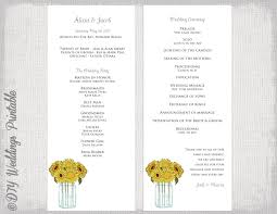 sunflower wedding programs wedding program template sunflowers wedding