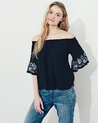 the shoulder black blouse shirts for hollister co