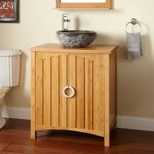 awesome bamboo bathroom cabinet with white granite sink also