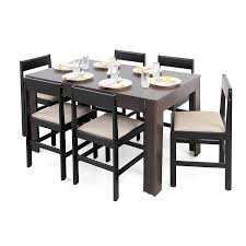 forzza carter six seater dining table set matte finish wenge