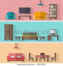 House Flat Design Set Interior Design House Rooms Furniture Stock Vector 553621024