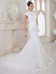 Chapel Train Wedding Dresses Ivory Mermaid High Collar Flower Chapel Train Wedding Dress For