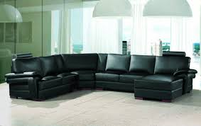 Large Black Leather Sofa Chic Design Ideas Using White Hanging Pendants And L Shaped