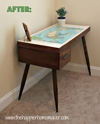 Desk Refinishing Ideas Diy Wooden World Map Art The Happier Homemaker