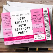 pink vip spoof concert ticket stub theme personalised birthday