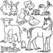 cartoon illustration of funny farm animals group for