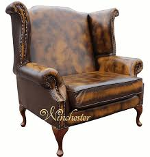 Queen Anne Wingback Chair Saxon Classic Chesterfield Queen Anne High Back Wing Chair Antique