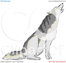 clipart of a wolf howling royalty free vector illustration by