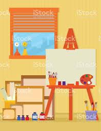 home art studio interior for artist stock vector art 665996406