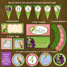 tinkerbell printable birthday party package diy pink green