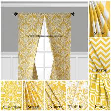 Yellow White Curtains Modern Yellow Curtain Panels Modern Geometric Chevron Damask