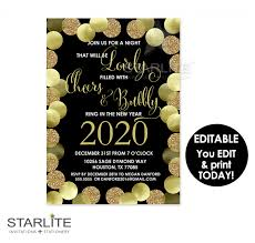 new year u0027s party invitation printable editable instant download