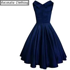 elsa swing dress in navy blue satin u2013 anomalie clothing