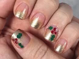 nails art gold tip holly nail art