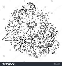 doodle art flowers zentangle floral pattern stock vector 301700666