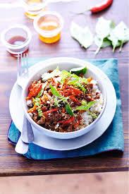 cuisine asiatique boeuf recette asiatique bœuf haché tout parfumé et riz coco thaï thaï