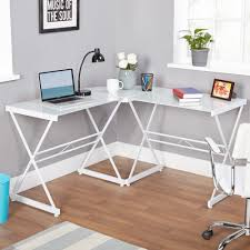 Glass Topped Computer Desk by Attractive L Shaped Glass Top Desk Atrium Metal And Glass L Shaped