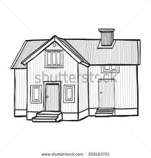 hand drawn sketchy scandinavian house freehand stock vector