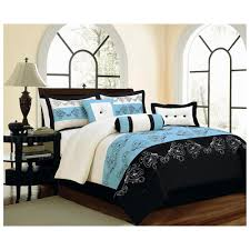 Brown And Blue Bedding by Large Master Bedroom Design With Black White And Blue 7 Pieces