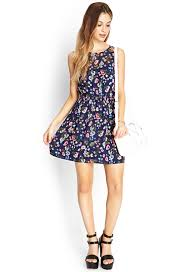 fit and flare dress forever 21 forever 21 floral fit flare dress in blue lyst