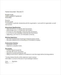 Job Experience Resume by 4 Fresher Accountant Resume 6 Free Word Pdf Documents