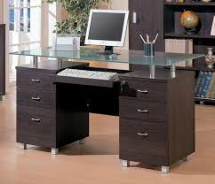 Modern Glass Desk With Drawers Modern Glass Office Desk With Regard To Drawers Ideas 9