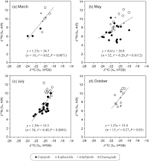 linear relationship between carbon and nitrogen isotope ratios