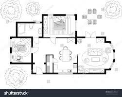 black white floor plan house stock vector 281289323 shutterstock