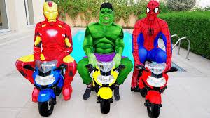 the avengers spiderman hulk u0026 iron man motorbike race w joker