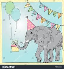 hand drawn happy birthday card elephant stock vector 284508743