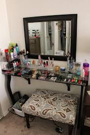Glass Makeup Vanity Table Furniture Chic Corner Makeup Vanity For Home Furniture Idea