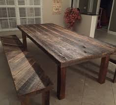 reclaimed wood dining table with bench design home decoration