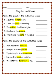 all worksheets plurals worksheets grade 4 free printable
