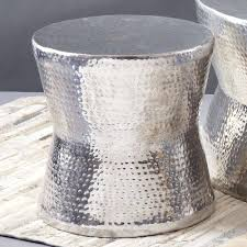 Ceramic Side Table Gold Drum Accent Tables Silver Tam Tam Hammered Accent Table Tozai