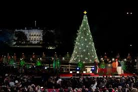 the obama family flips the switch on the national christmas tree