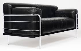 Le Corbusier Style Leather And Chrome Sofa Jean Marc Fray - Corbusier sofas