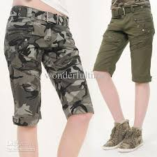 new women camouflage cargo shorts army military camo combat work