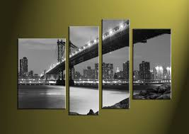 4 piece black and white city grey canvas art prints