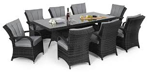 maze rattan texas 8 seat rectangle dining set