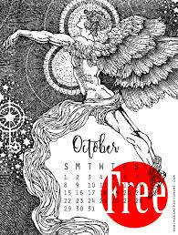 free printable october 2017 calendar print color