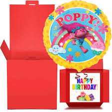 balloons in a box poppy troll happy birthday helium balloon in a box free delivery