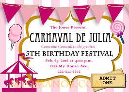 5th birthday party invitation carnival birthday party invitation diy printable pink custom order