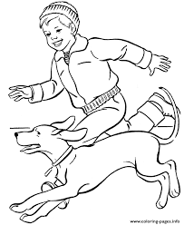 boy running dog e3cb coloring pages printable
