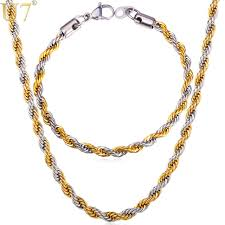 gold tone necklace set images U7 two tone gold color rope chain necklace set jewelry wholesale jpg