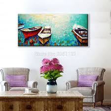 aliexpress com buy hand painted abstract modern boat art