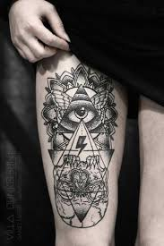 all seeing eye tattoo on right thigh tattoos book 65 000