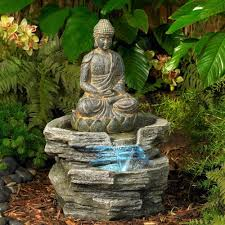 sitting buddha 21 high led water outdoor