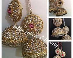 big jhumka gold earrings big jhumkas etsy
