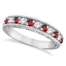 ruby bands rings images Diamond and ruby ring anniversary band 14k white gold 0 59ct ir138 jpg